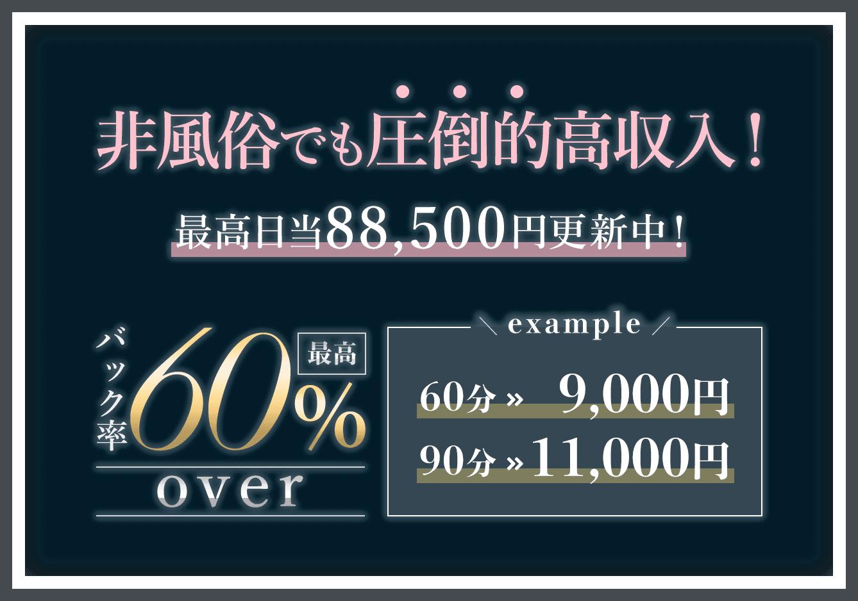 非風俗でも圧倒的高収入!最高日当88,500円更新中!バック率最高60%以上!